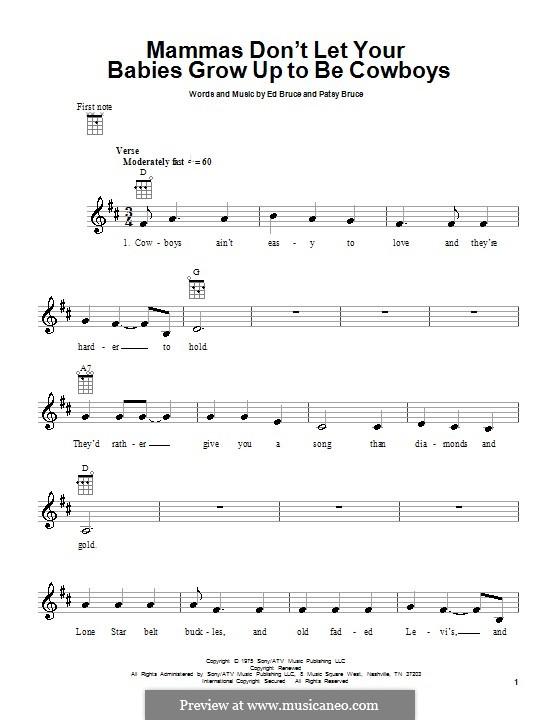 Mammas don't Let Your Babies Grow Up To Be Cowboys (Waylon Jennings & Willie Nelson): For ukulele by Ed Bruce, Patsy Bruce