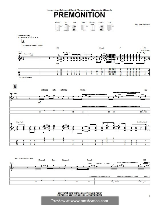 Premonition: For guitar with tab by Joe Satriani