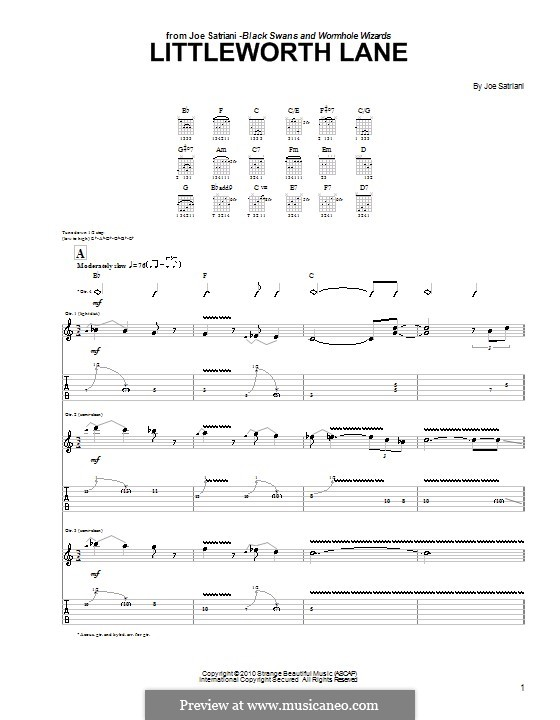 Littleworth Lane: For guitar with tab by Joe Satriani