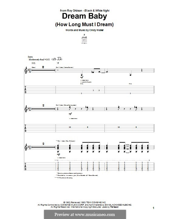 Dream Baby (How Long Must I Dream): For guitar with tab by Cindy Walker