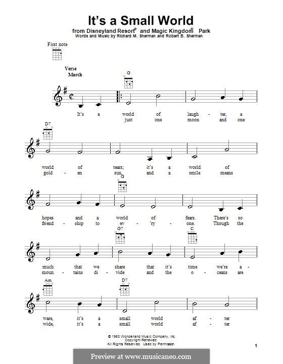 It's a Small World (from Disneyland Park and Magic Kingdom Park): For ukulele by Richard M. Sherman, Robert B. Sherman