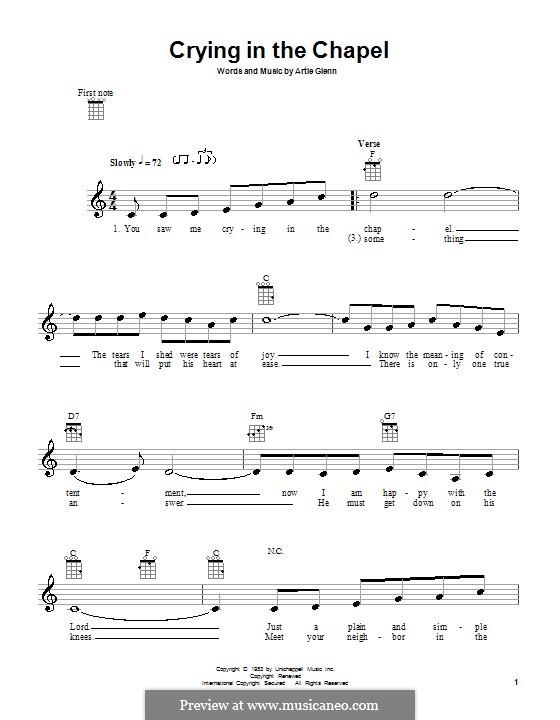 Crying in the Chapel (Elvis Presley): For ukulele by Artie Glenn