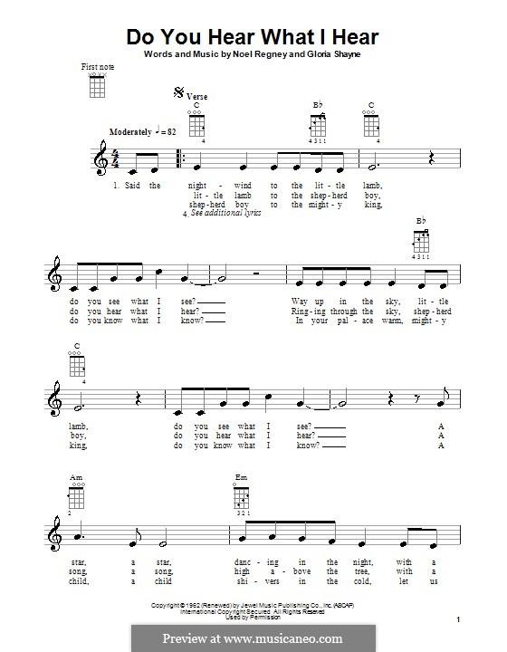 Do You Hear What I Hear: For ukulele by Gloria Shayne, Noël Regney