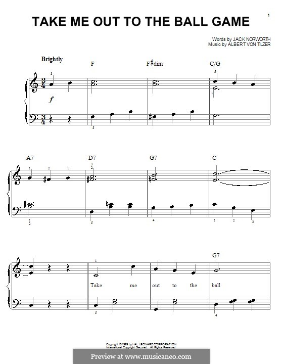 Take Me Out to the Ball Game: For easy piano by Albert von Tilzer