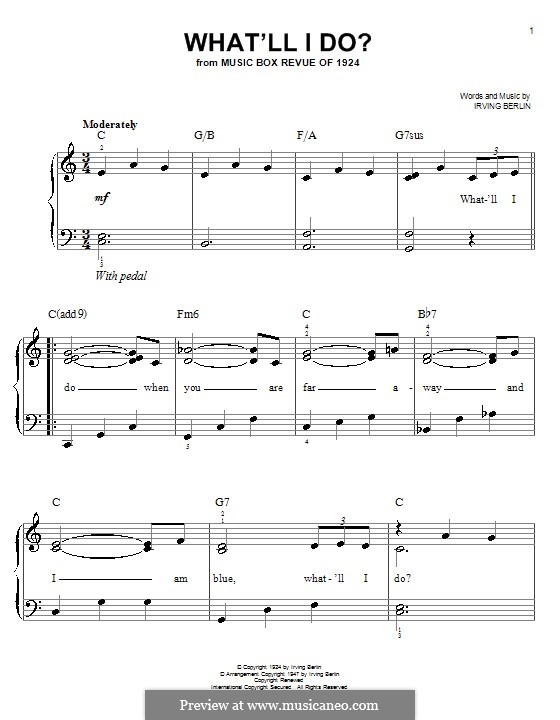 What'll I Do? (from Music Box Revue of 1924): For easy piano by Irving Berlin