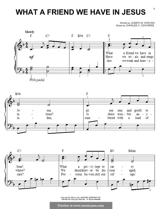 What a Friend We Have in Jesus (Printable): For easy piano by Charles Crozat Converse