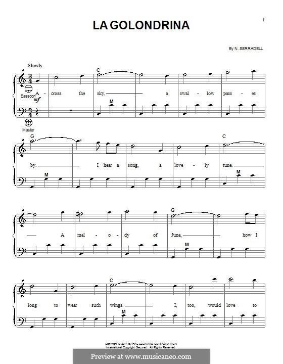 La Golondrina: For accordion by Narciso Serradell