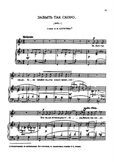 To Forget So Soon, TH 94: For voice and piano by Pyotr Tchaikovsky