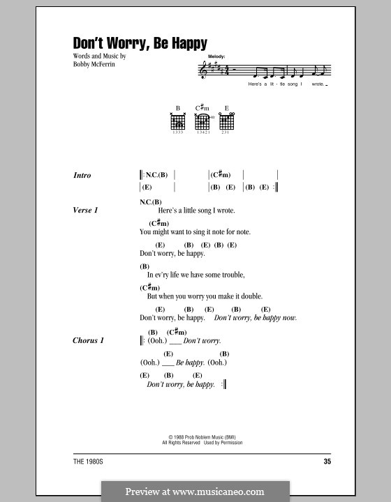 Don't Worry, Be Happy: Lyrics and chords (with chord boxes) by Bobby McFerrin