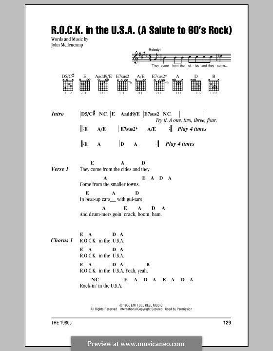 R.O.C.K. in the U.S.A. (A Salute to 60's Rock): Lyrics and chords (with chord boxes) by John Mellencamp