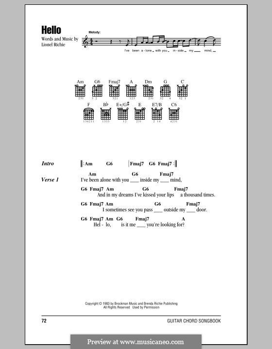 Hello: Lyrics and chords (with chord boxes) by Lionel Richie