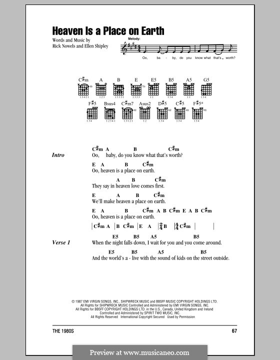 Heaven is a Place on Earthv: Lyrics and chords (with chord boxes) by Ellen Shipley, Rick Nowels