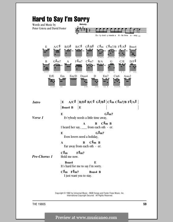 Hard to Say I'm Sorry (Chicago): Lyrics and chords (with chord boxes) by David Foster, Peter Cetera