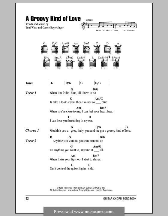A Groovy Kind of Love (The Mindbenders): Lyrics and chords (with chord boxes) by Carole Bayer Sager, Toni Wine