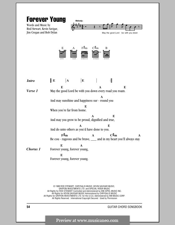 Forever Young II: Lyrics and chords (with chord boxes) by Bob Dylan, Jim Cregan, Kevin Savigar, Rod Stewart