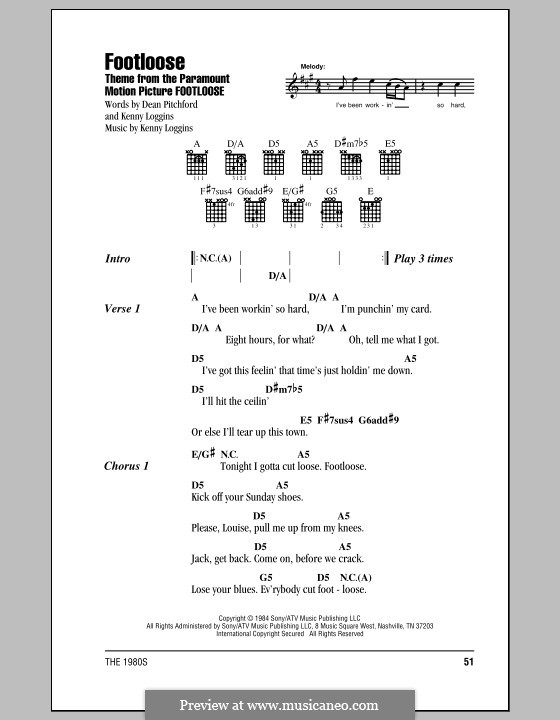 Footloose: Lyrics and chords (with chord boxes) by Kenny Loggins