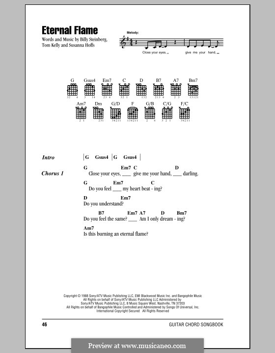Eternal Flame: Lyrics and chords (with chord boxes) by Billy Steinberg, Susanna Hoffs, Tom Kelly