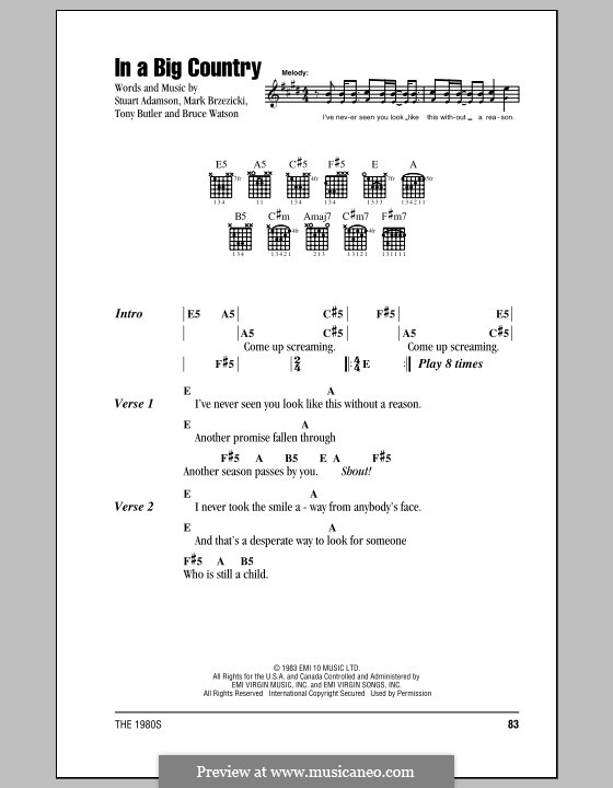 In a Big Country: Lyrics and chords (with chord boxes) by Bruce Watson, Mark Brzezicki, Stuart Adamson, Tony Butler