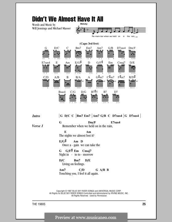 Didn't We Almost Have It All (Whitney Houston): Lyrics and chords (with chord boxes) by Michael Masser, Will Jennings