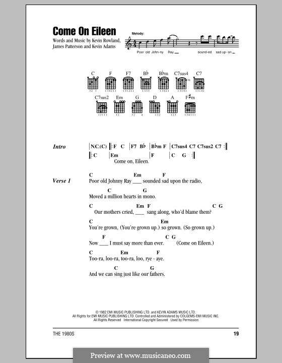Come on Eileen (Dexy's Midnight Runners): Lyrics and chords (with chord boxes) by James Patterson, Kevin Adams, Kevin Rowland