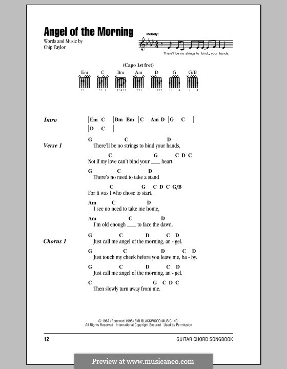 Angel of the Morning: Lyrics and chords (with chord boxes) by Chip Taylor