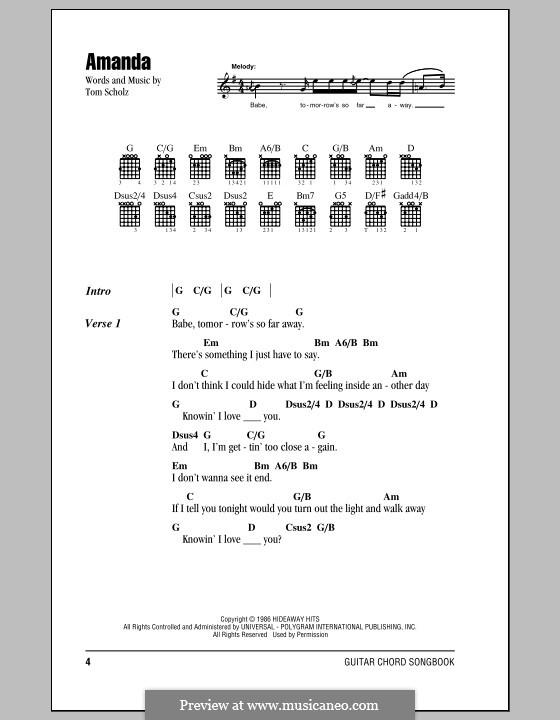 Amanda (Boston): Lyrics and chords (with chord boxes) by Tom Scholz