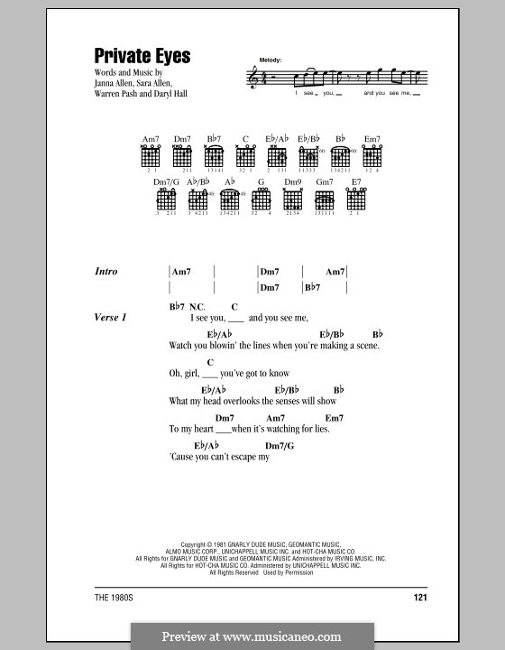 Private Eyes (Hall & Oates): Lyrics and chords (with chord boxes) by Daryl Hall, Janna Allen, Sara Allen, Warren Pash