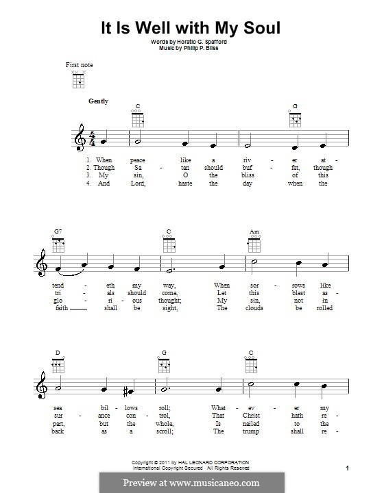 It Is Well with My Soul (Printable scores): For ukulele by Philip Paul Bliss