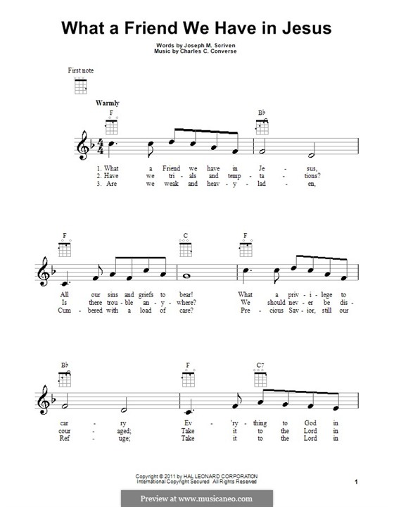 What a Friend We Have in Jesus (Printable): For ukulele by Charles Crozat Converse