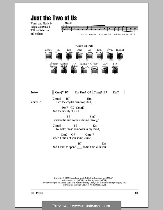 Just the Two of Us (Grover Washington Jr. with Bill Withers): Lyrics and chords (with chord boxes) by Bill Withers, Ralph MacDonald, William Salter
