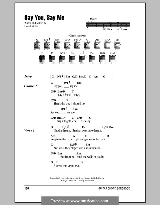 Say You, Say Me: Lyrics and chords (with chord boxes) by Lionel Richie
