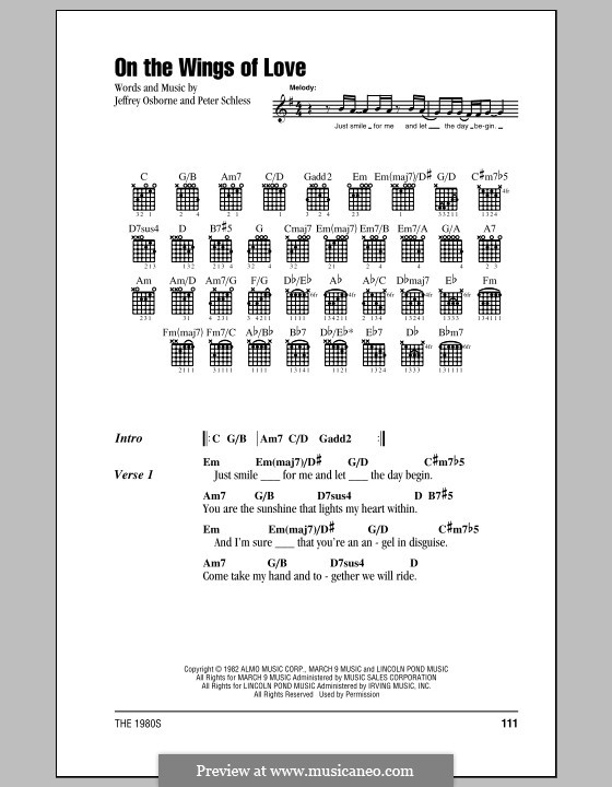 On the Wings of Love: Lyrics and chords (with chord boxes) by Peter Schless