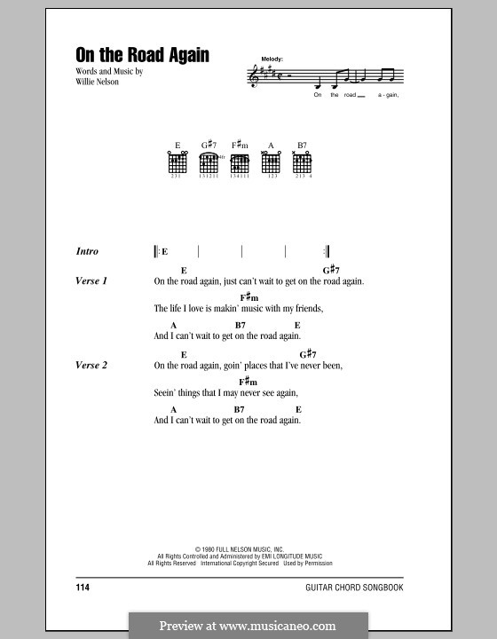 On the Road Again: Lyrics and chords (with chord boxes) by Willie Nelson