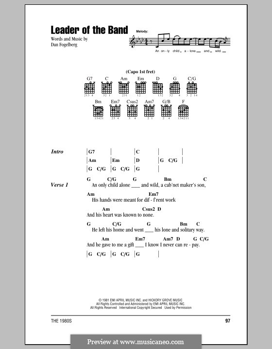 Leader of the Band: Lyrics and chords (with chord boxes) by Dan Fogelberg