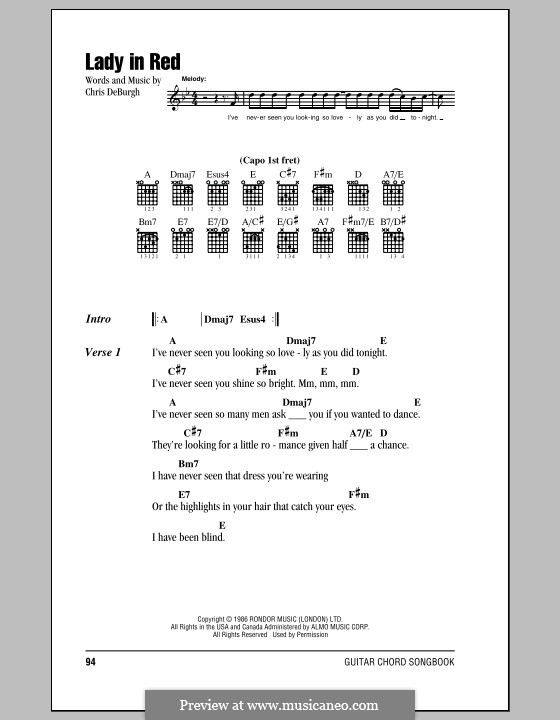 The Lady in Red: Lyrics and chords (with chord boxes) by Chris de Burgh