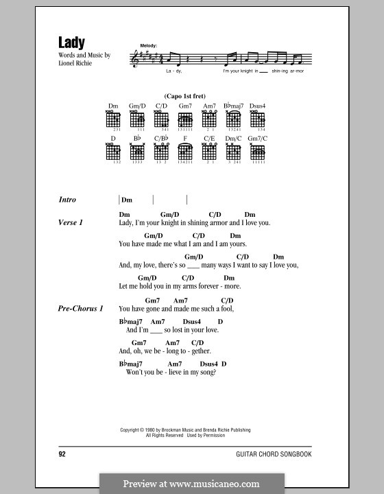 Lady: Lyrics and chords (with chord boxes) by Lionel Richie