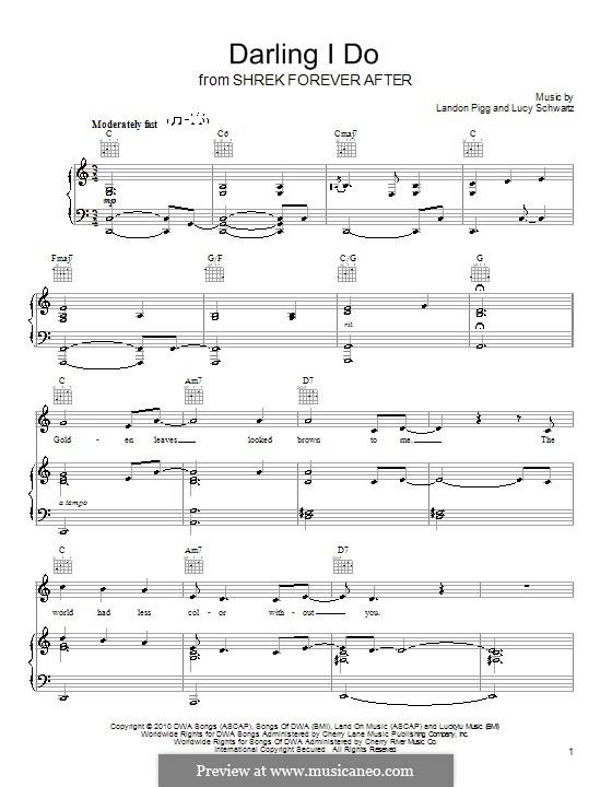 Darling I Do (Landon Pigg & Lucy Schwartz): For voice and piano (or guitar) by Landon Pigg