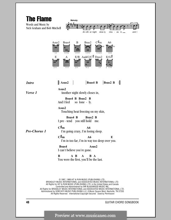 The Flame (Cheap Trick): Lyrics and chords (with chord boxes) by Bob Mitchell, Nicky Graham