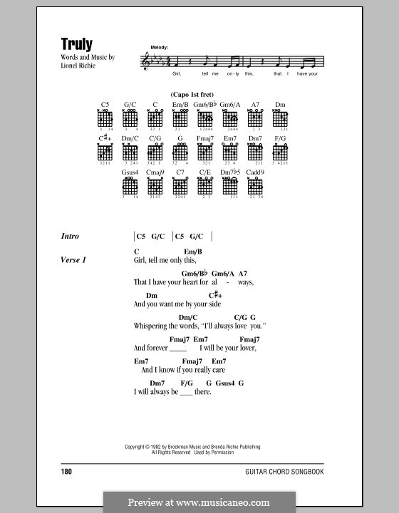 Truly: Lyrics and chords (with chord boxes) by Lionel Richie