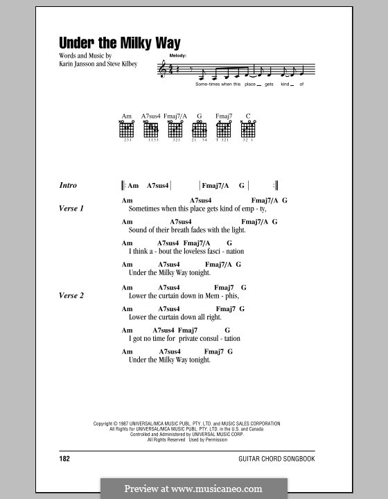 Under the Milky Way (The Church): Lyrics and chords (with chord boxes) by Karin Jansson, Steve Kilbey