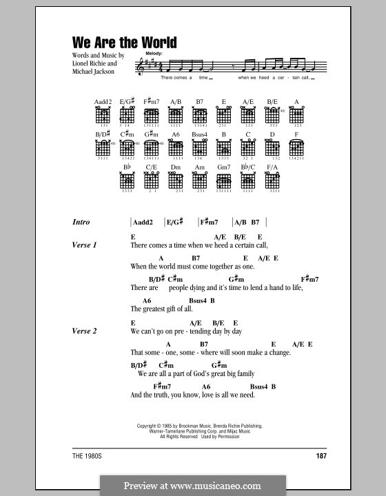 We Are the World (USA for Africa): Lyrics and chords (with chord boxes) by Lionel Richie, Michael Jackson