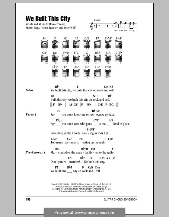 We Built This City (Starship): Lyrics and chords (with chord boxes) by Dennis Lambert, Martin George Page, Peter Wolf