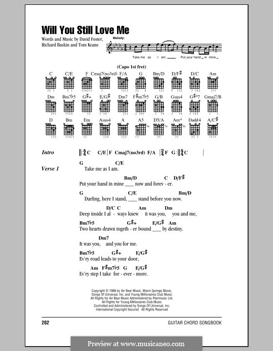 Will You Still Love Me (Chicago): Lyrics and chords (with chord boxes) by David Foster, Richard Baskin, Tom Keane