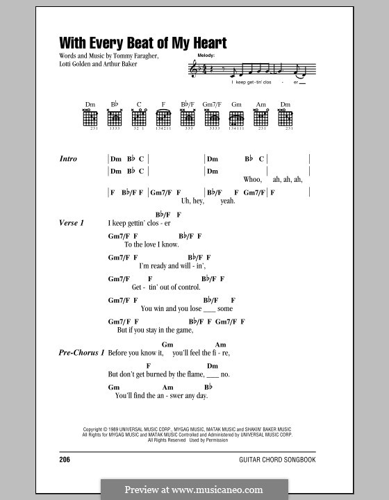 With Every Beat of My Heart (Taylor Dane): Lyrics and chords (with chord boxes) by Arthur Baker, Lotti Golden, Tommy Faragher