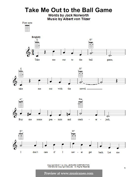 Take Me Out to the Ball Game: For ukulele by Albert von Tilzer