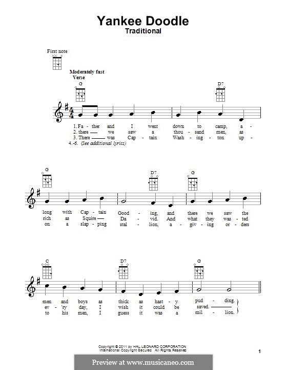 Yankee Doodle: For ukulele by folklore
