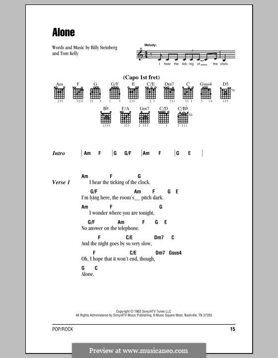 Alone: Lyrics and chords (Heart) by Billy Steinberg, Tom Kelly