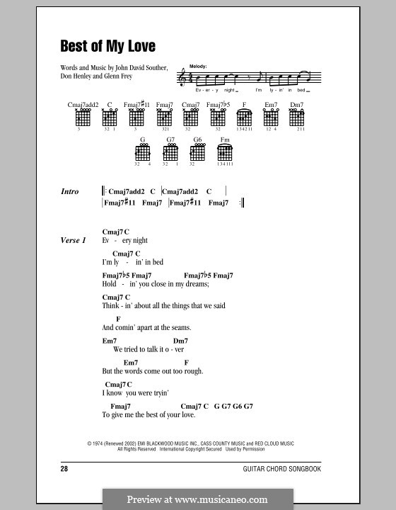 Best of My Love (The Eagles): Lyrics and chords (with chord boxes) by Don Henley, Glen Frey, John David Souther