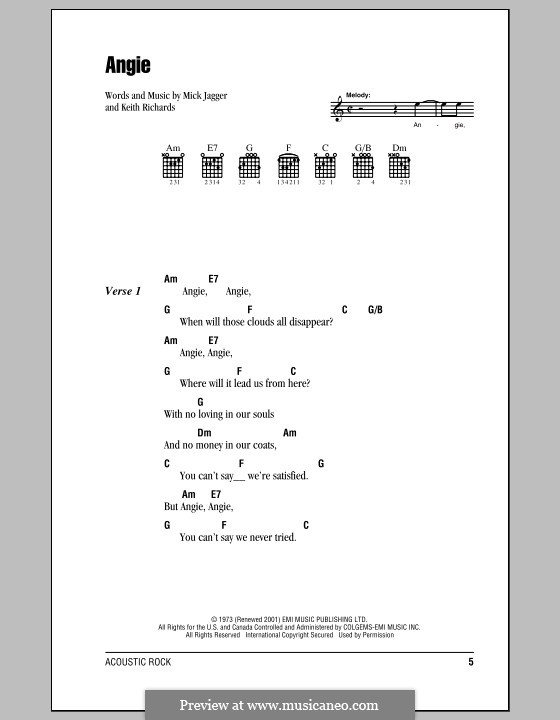 Angie (The Rolling Stones): Lyrics and chords (with chord boxes) by Keith Richards, Mick Jagger