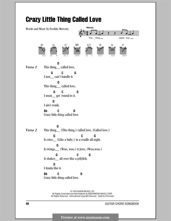 Crazy Little Thing Called Love (Queen): Lyrics and chords by Freddie Mercury
